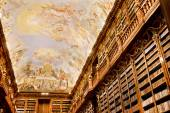 Old hall with fresco on the ceiling painted — Stock Photo