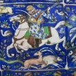 Vintage ceramic tiles with hunting scene and a horse rider. — Stock Photo #67151651