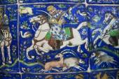 Vintage ceramic tiles with hunting scene and a horse rider. — Stock Photo