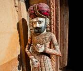 Wooden figures of Rajasthan man in turban — Stock Photo