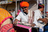 Music band of elderly Rajasthan musicians play songs — Stock Photo