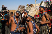 Young weird people from african tribals — Stock Photo