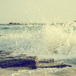 Big windy waves splashing over rocks. Storm begins. — Stock Photo #56212493