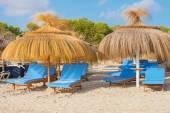 Jede menge liegestühle am strand. — Stockfoto