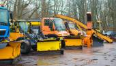 Road services are ready for winter. Winter service vehicles. — Stock Photo