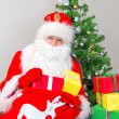 Santa Claus with gifts near the Christmas tree. — Stock Photo #59713849