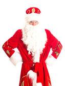 Santa is suspecting someone. Isolated on white. — Stock Photo