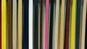 Colorful leather belts collection in the store. — Stock Photo