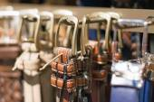 Leather belts collection in the store. — Stock Photo