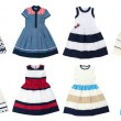 Girls dresses isolated on white background. Collage of eight photos. — Stock Photo #70703903
