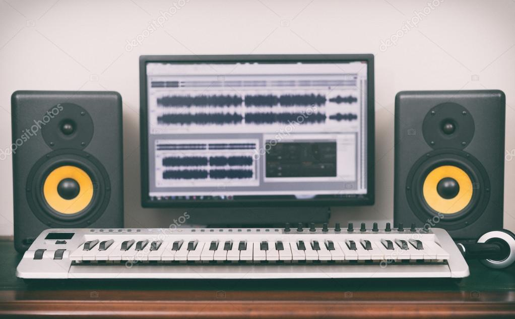 Groovy Home Recording Studio With Professional Monitors And Midi Keyboard Largest Home Design Picture Inspirations Pitcheantrous