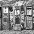 Black and White image of old rusting gas pumps found in an antiq — Stock Photo #56894041