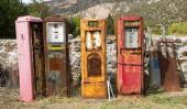 Old rusting gas pumps found in an antique store in New Mexico — Stock Photo