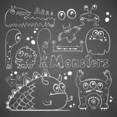 Set of hand drawn freaky monsters — Stock Vector