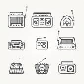 Radio icon set — Stock Vector