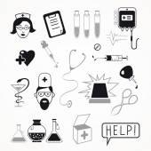 Health care and medicine icon set — Stock Vector