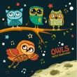Collection of owls in the night — Stock Vector #65660407