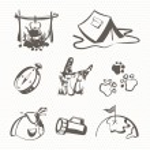 Black camping icon set — Stock Vector #73305911