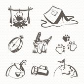 Black camping icon set — Stock Vector