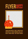 Carte de voeux d'anniversaire avec cupcake — Vecteur