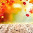 Autumn background with empty wooden planks — Stock Photo #51808617