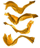 Golden satins shape on white background — Стоковое фото