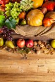 Autumn agriculture products on wood — Stock Photo