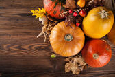 Autumn agriculture products on wood — Foto de Stock