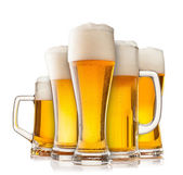 Collection of glasses of beer on white — Stock Photo