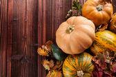 Autumn pumpkins on wooden planks — Stock Photo