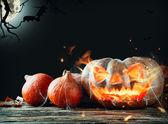 Burning pumpkin — Stock Photo