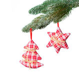 Christmas hand made decoration on white background — Stock Photo