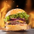Home-made hamburgers with fire — Stock Photo #54762599