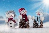 Winter snowy scenery with snow man — Stock Photo