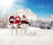 Winter snowy scenery with snow men — Stockfoto