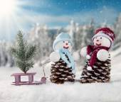 Winter snowy scenery with snow men — Foto Stock
