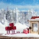 Winter snowy scenery with lantern — Stock Photo #57367505