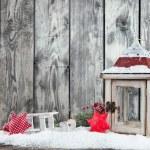 Winter snowy scenery with lantern — Stock Photo #57367985