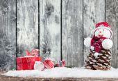 Winter snowy scenery with lantern — Stock Photo