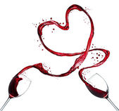 Red wine splash heart on white background — 图库照片