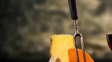 French cheese and wine — Stock Video