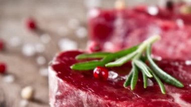Raw steaks — Stock Video