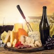 Various kind of cheese with wine — Stock Photo #66437875