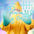 Laboratory man drawing digital scheme — Stock Photo #66910713