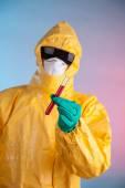 Laboratory man holding vial of blood sample — Stock Photo