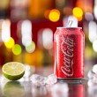 Prague, CZECH REPUBLIC - MAY 11, 2015 : Can of Coca-Cola on ice cubes. Coca-Cola is the one of the worlds favourite soft drinks. — Stock Photo #72501959