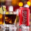 Prague, CZECH REPUBLIC - MAY 11, 2015 : Can of Coca-Cola with glass on ice cubes. Coca-Cola is the one of the worlds favourite soft drinks. — Stock Photo #72501961