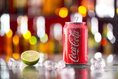 Prague, CZECH REPUBLIC - MAY 11, 2015 : Can of Coca-Cola on ice cubes. Coca-Cola is the one of the worlds favourite soft drinks. — Stock Photo