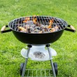 Empty grill with fire on garden — Stock Photo #73090019