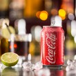 Prague, CZECH REPUBLIC - MAY 11, 2015 : Can of Coca-Cola on ice cubes. Coca-Cola is the one of the worlds favourite soft drinks. — Stock Photo #73213125